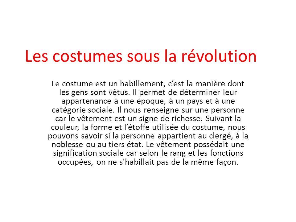 Les costumes sous la révolution