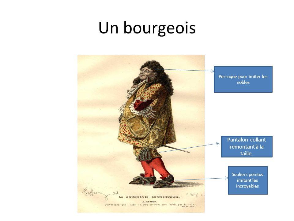 Un bourgeois Pantalon collant remontant à la taille.