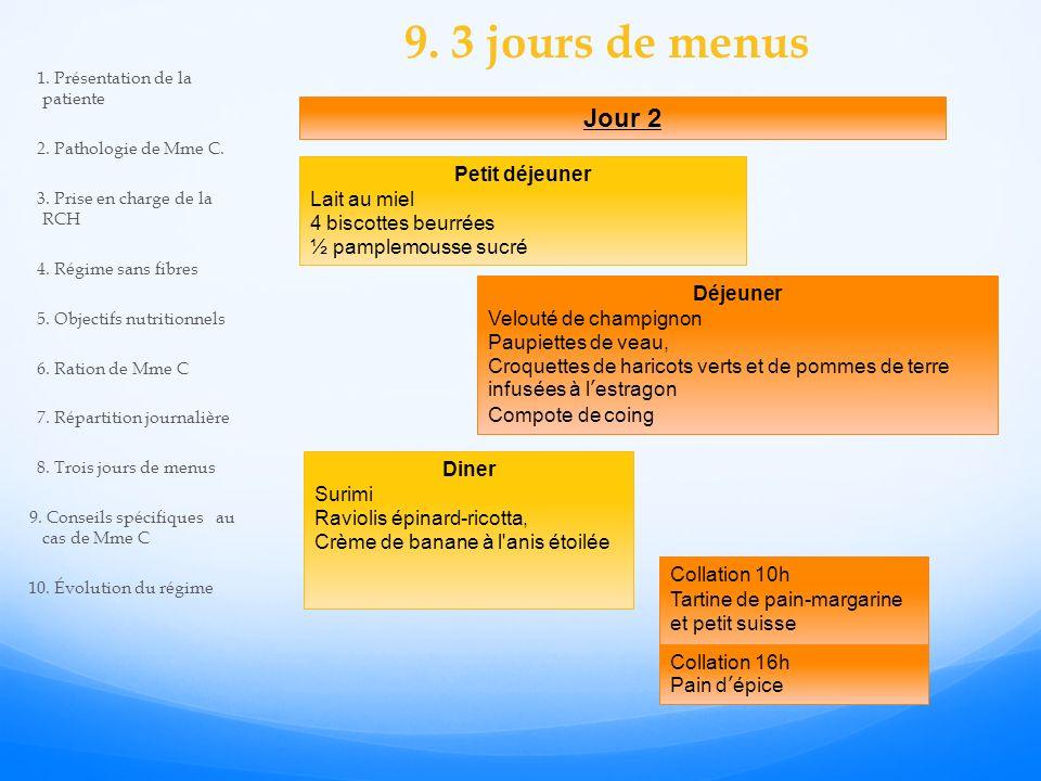9. 3 jours de menus Jour 2 Petit déjeuner Lait au miel