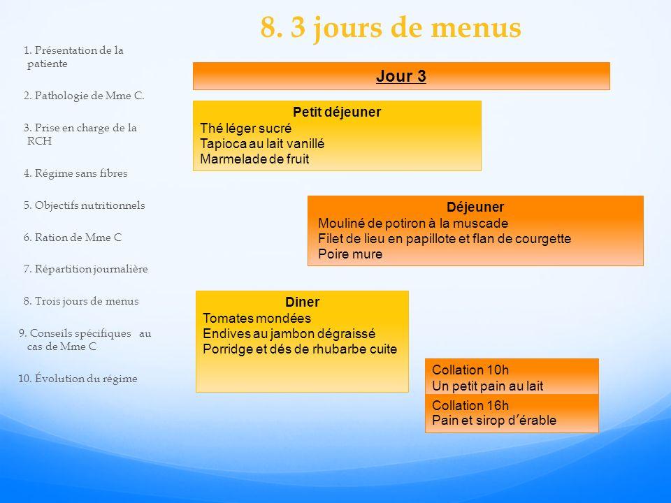 8. 3 jours de menus Jour 3 Petit déjeuner Thé léger sucré