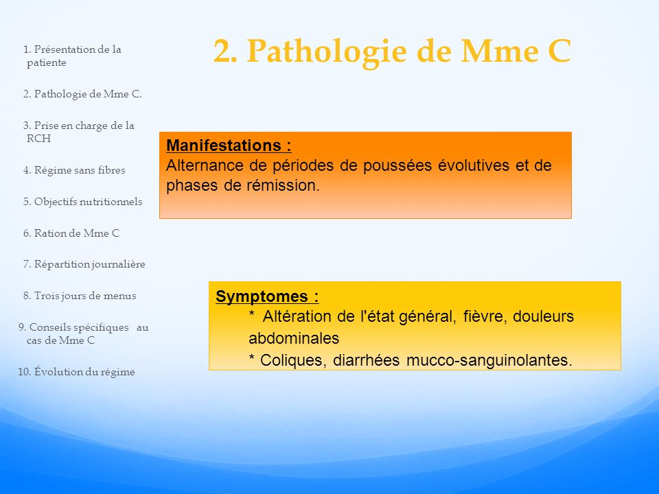 2. Pathologie de Mme C Manifestations :