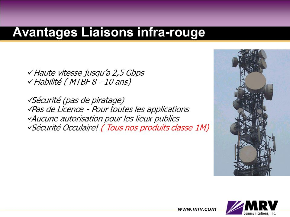 Avantages Liaisons infra-rouge