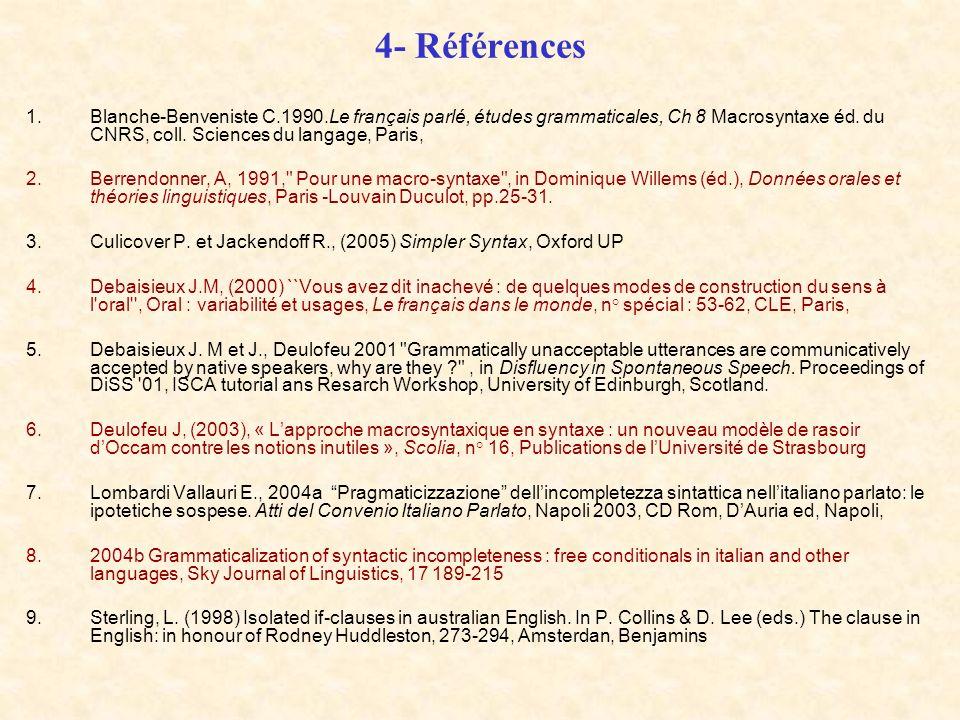 4- RéférencesBlanche-Benveniste C.1990.Le français parlé, études grammaticales, Ch 8 Macrosyntaxe éd. du CNRS, coll. Sciences du langage, Paris,