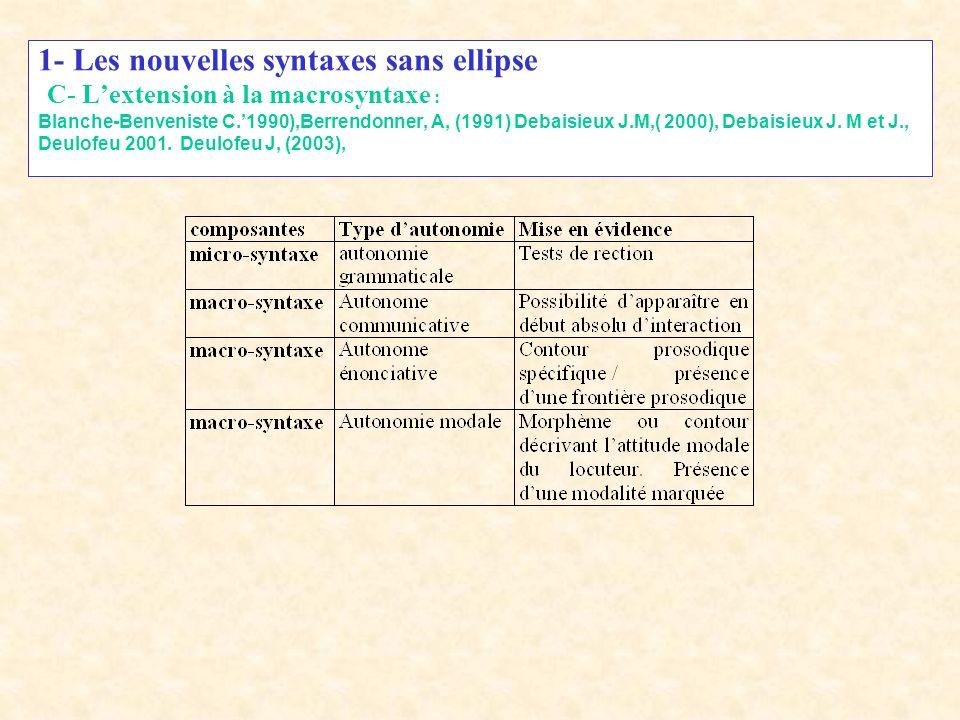 1- Les nouvelles syntaxes sans ellipse C- L'extension à la macrosyntaxe : Blanche-Benveniste C.'1990),Berrendonner, A, (1991) Debaisieux J.M,( 2000), Debaisieux J.