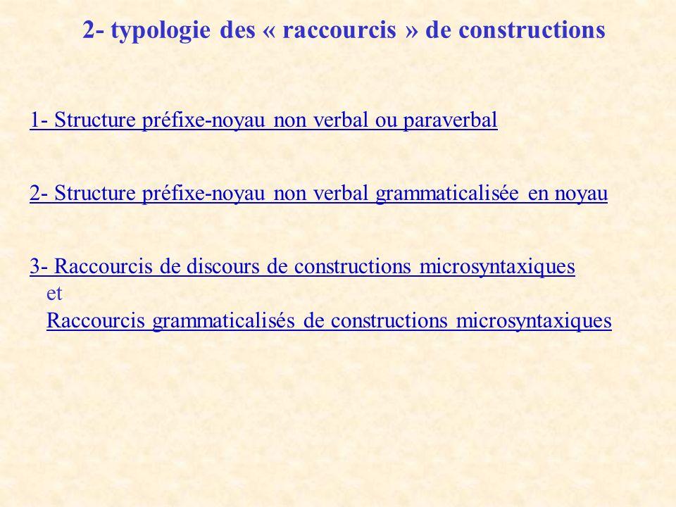 2- typologie des « raccourcis » de constructions