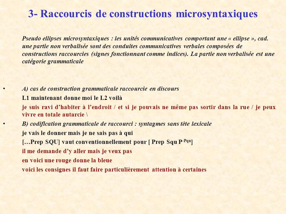 3- Raccourcis de constructions microsyntaxiques