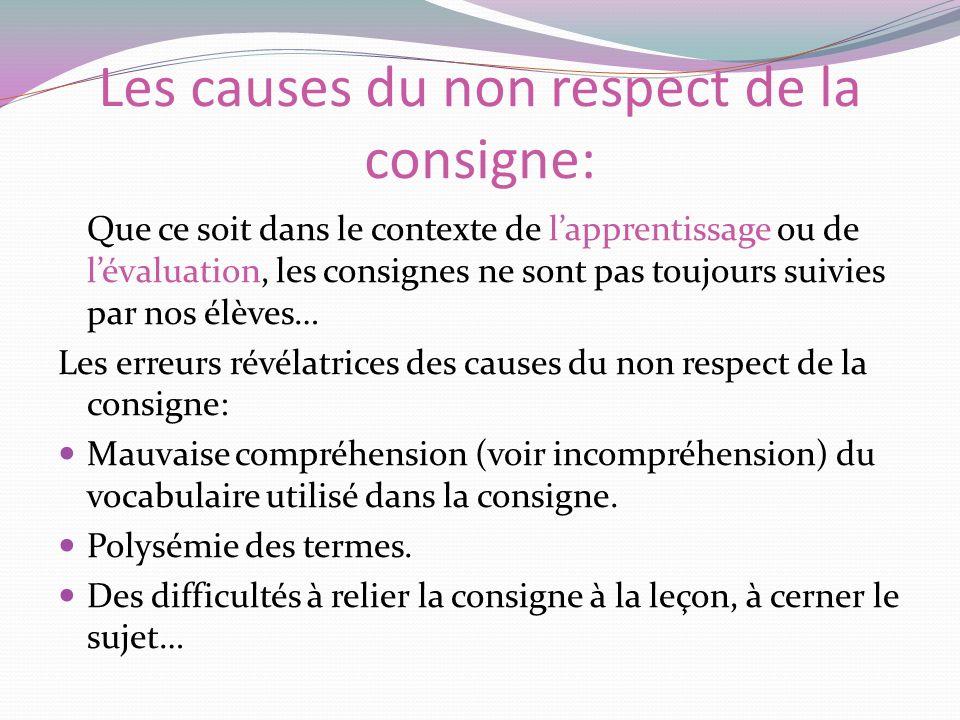 Les causes du non respect de la consigne: