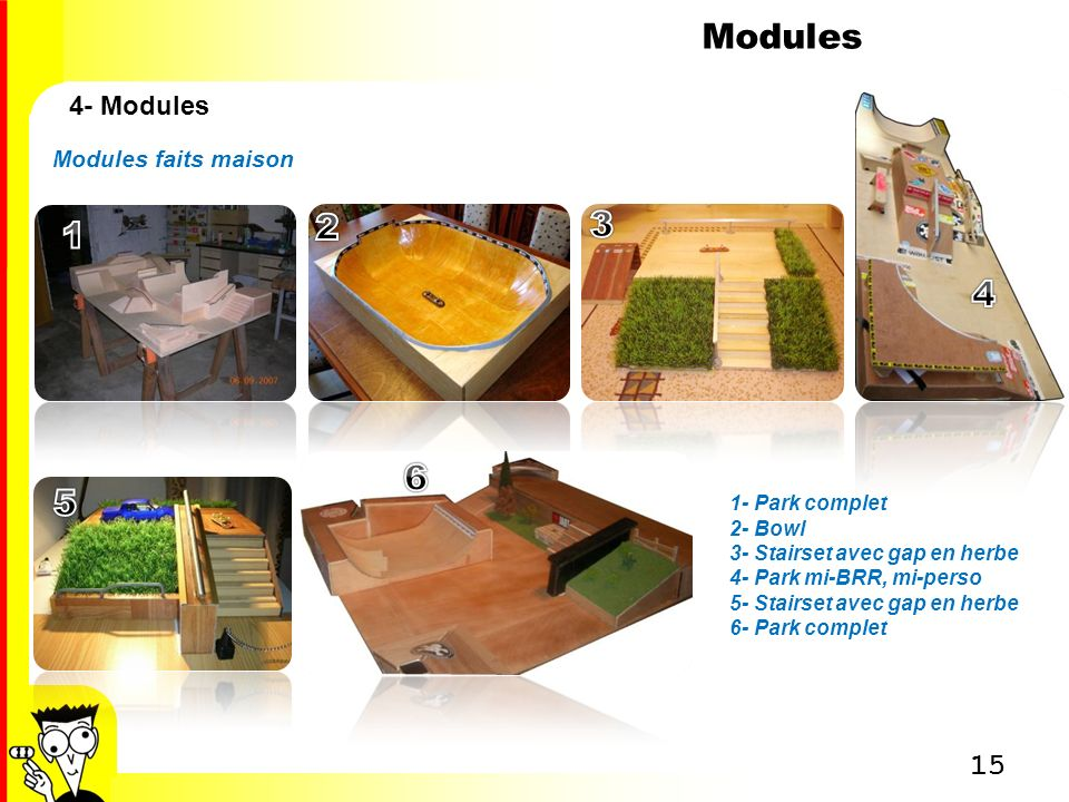 Modules 2 3 1 4 6 5 4- Modules Modules faits maison 1- Park complet