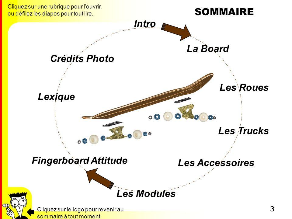SOMMAIRE Intro La Board Crédits Photo Les Roues Lexique Les Trucks