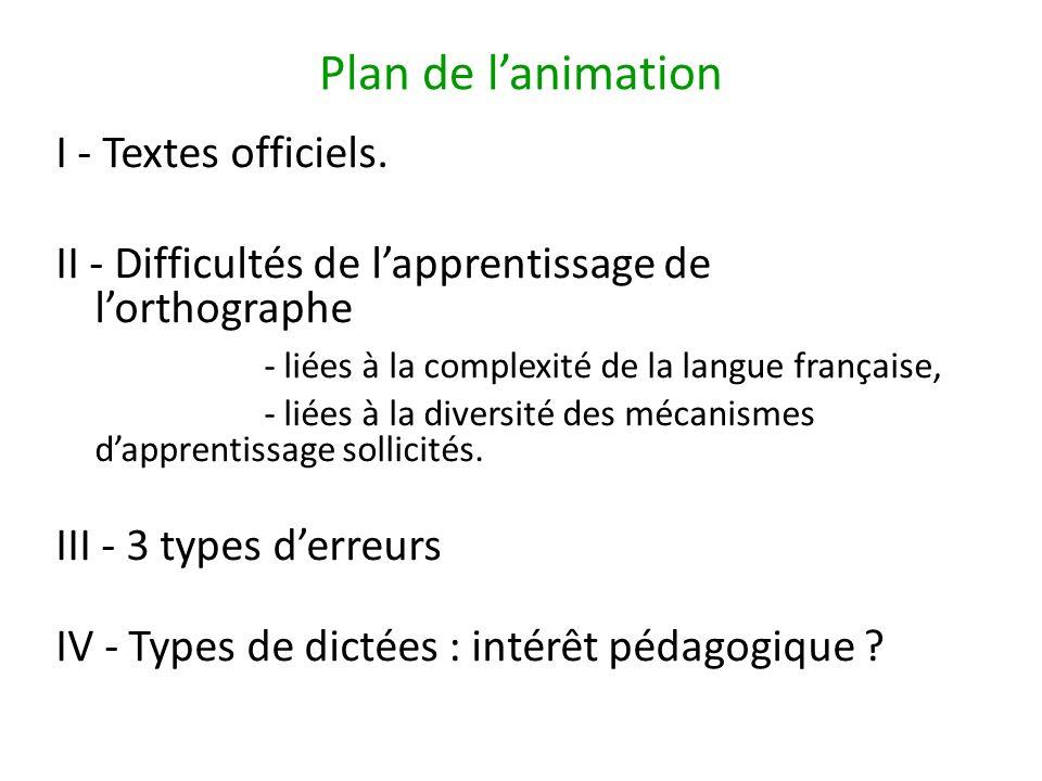 Plan de l'animation I - Textes officiels.