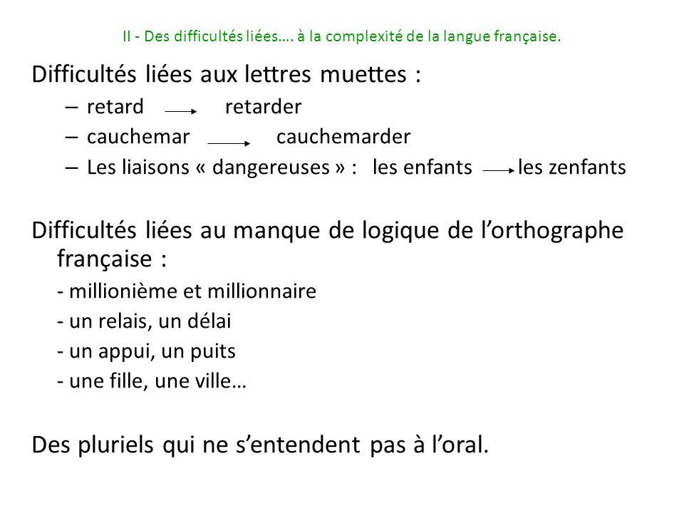 II - Des difficultés liées…. à la complexité de la langue française.