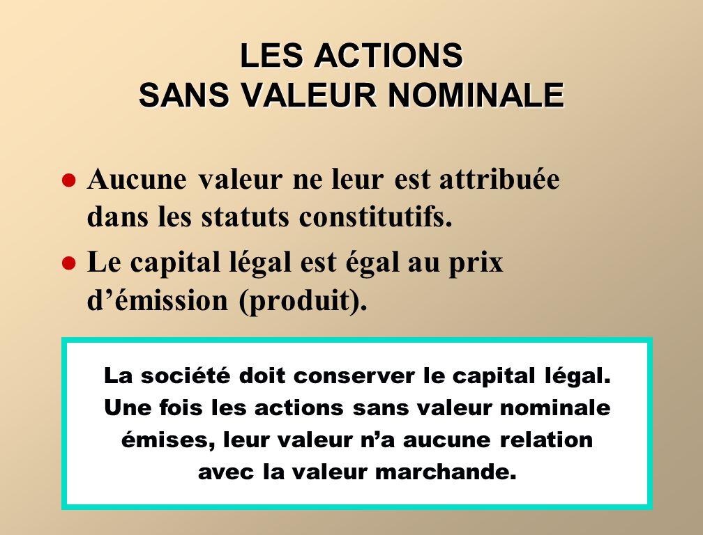 LES ACTIONS SANS VALEUR NOMINALE