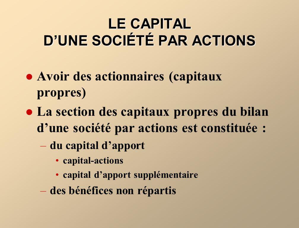 LE CAPITAL D'UNE SOCIÉTÉ PAR ACTIONS
