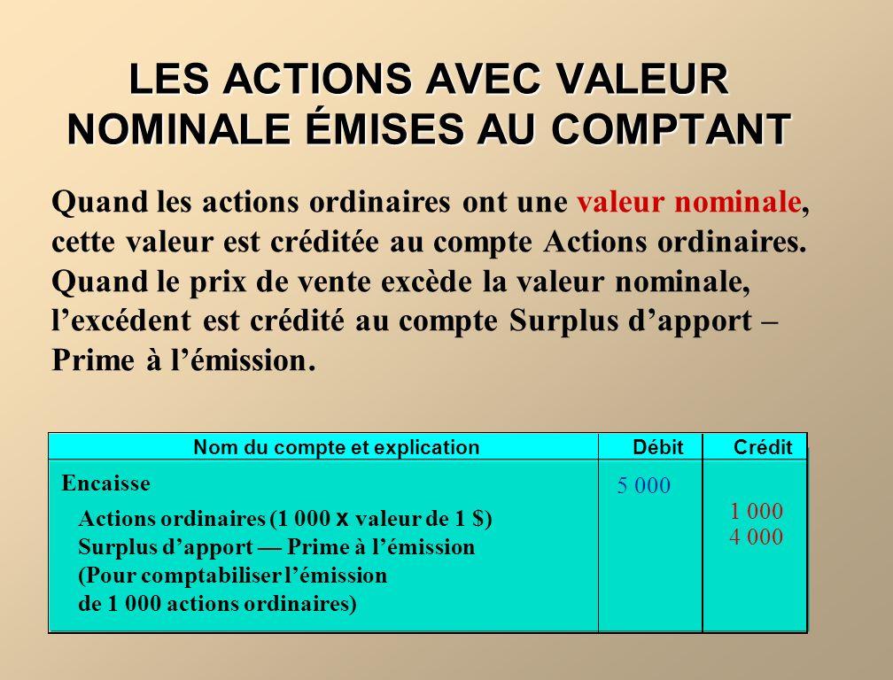 LES ACTIONS AVEC VALEUR NOMINALE ÉMISES AU COMPTANT