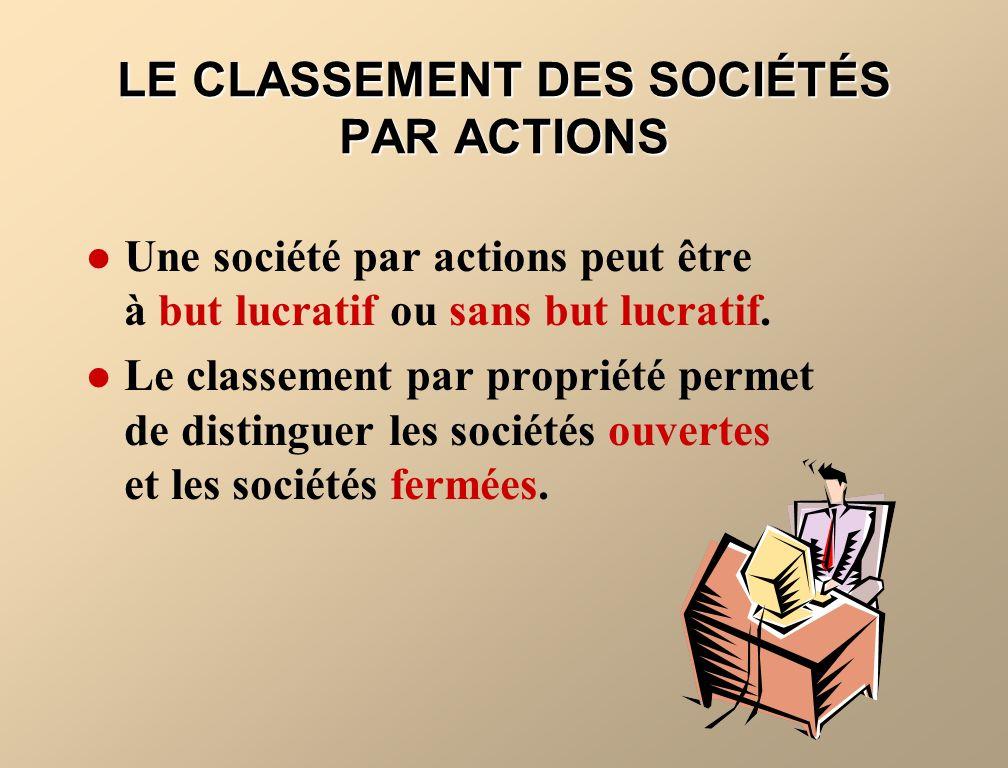 LE CLASSEMENT DES SOCIÉTÉS PAR ACTIONS