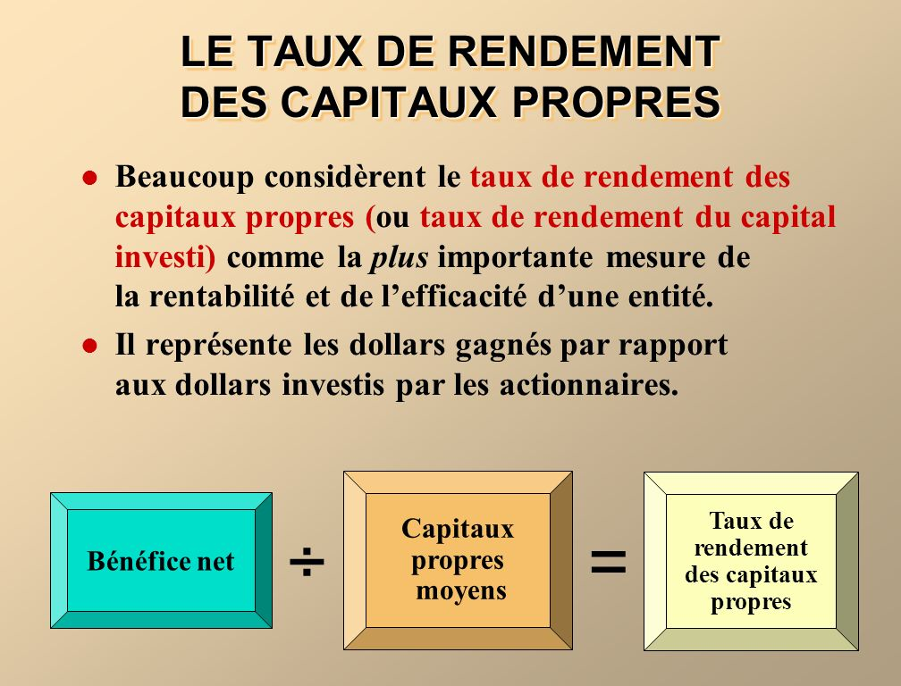 LE TAUX DE RENDEMENT DES CAPITAUX PROPRES