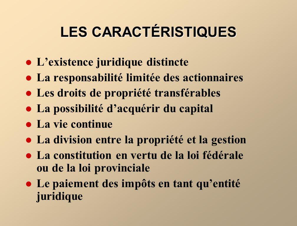 LES CARACTÉRISTIQUES L'existence juridique distincte