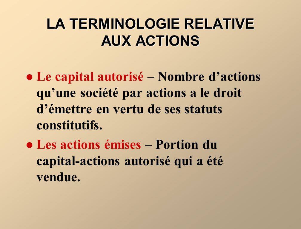 LA TERMINOLOGIE RELATIVE AUX ACTIONS
