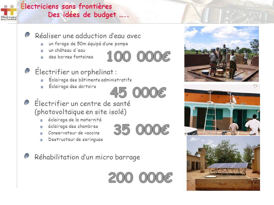 Électriciens sans frontières Des idées de budget …..