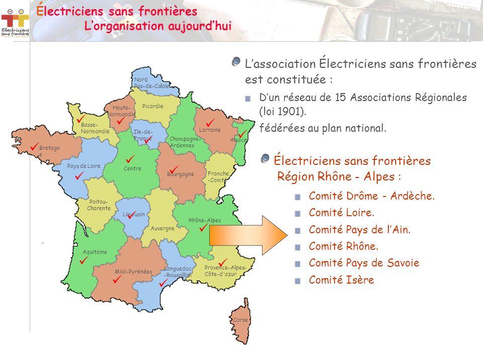 Électriciens sans frontières L'organisation aujourd'hui