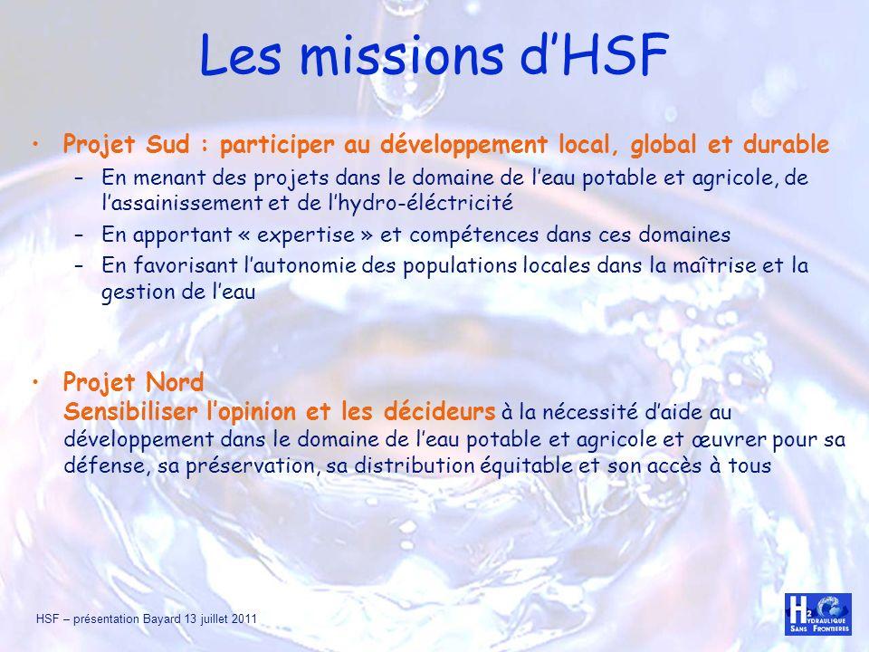 Les missions d'HSF Projet Sud : participer au développement local, global et durable.