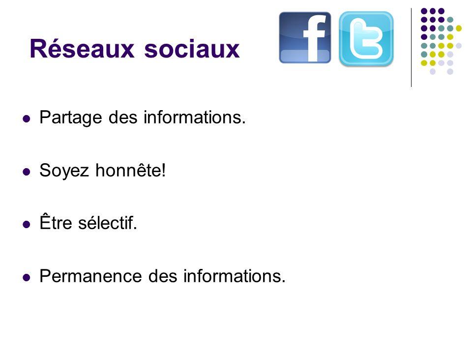 Réseaux sociaux Partage des informations. Soyez honnête!
