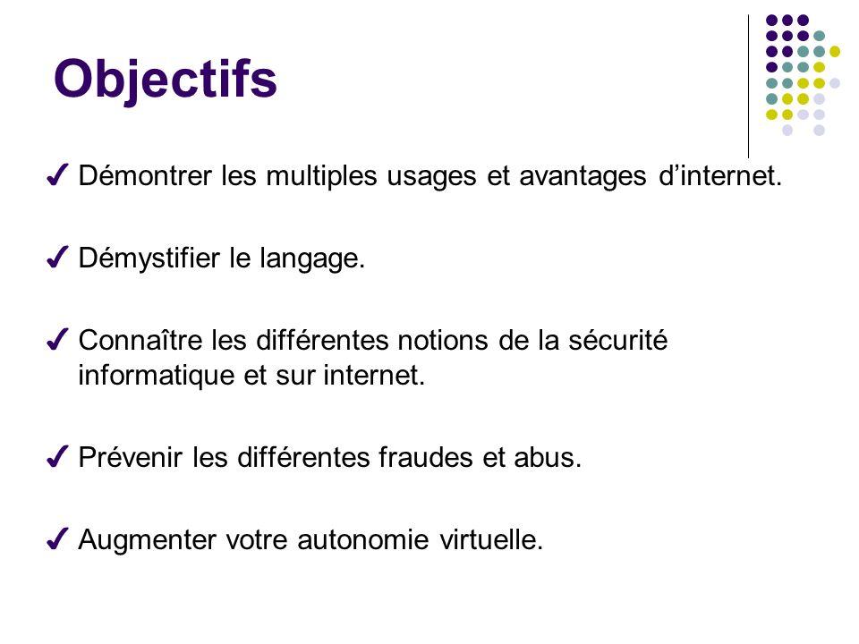 Objectifs ✔ Démontrer les multiples usages et avantages d'internet.