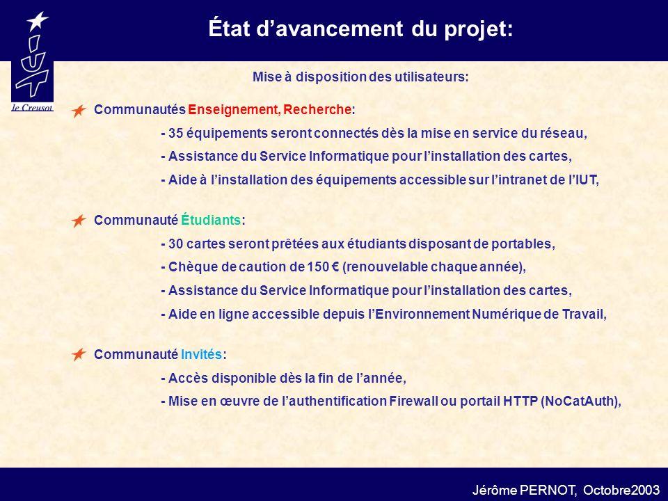 État d'avancement du projet: Mise à disposition des utilisateurs:
