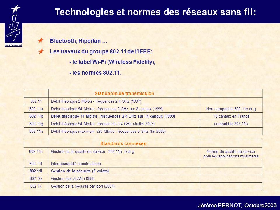 Technologies et normes des réseaux sans fil: Standards de transmission