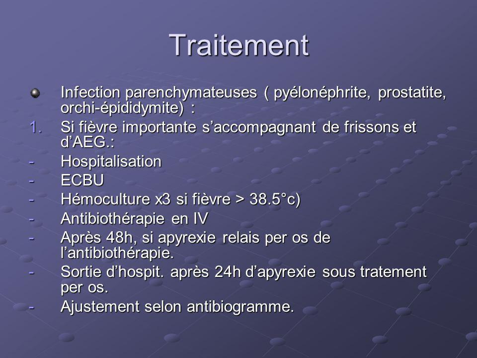 Traitement Infection parenchymateuses ( pyélonéphrite, prostatite, orchi-épididymite) : Si fièvre importante s'accompagnant de frissons et d'AEG.: