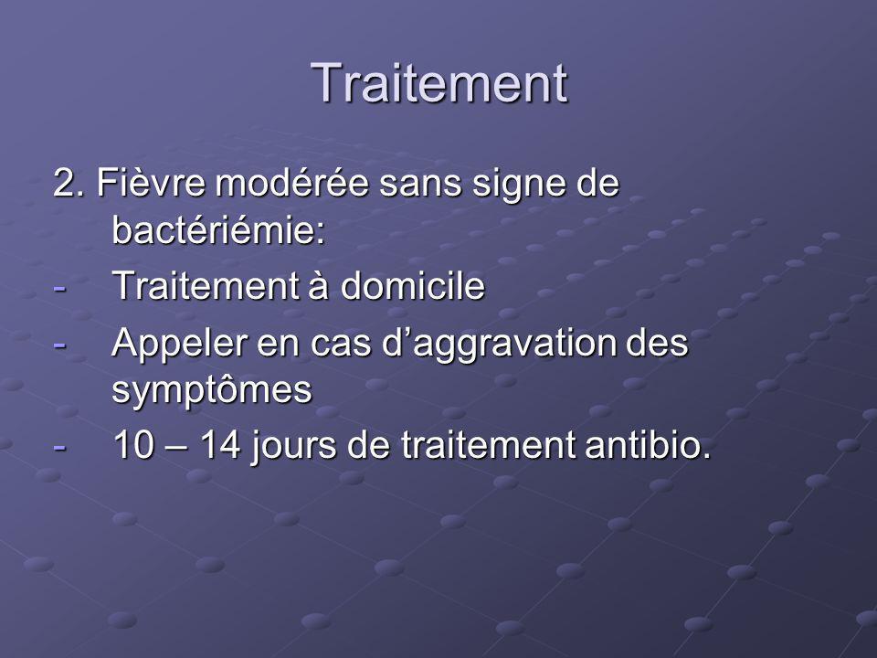 Traitement 2. Fièvre modérée sans signe de bactériémie: