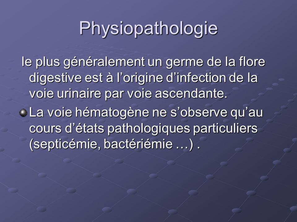 Physiopathologie le plus généralement un germe de la flore digestive est à l'origine d'infection de la voie urinaire par voie ascendante.