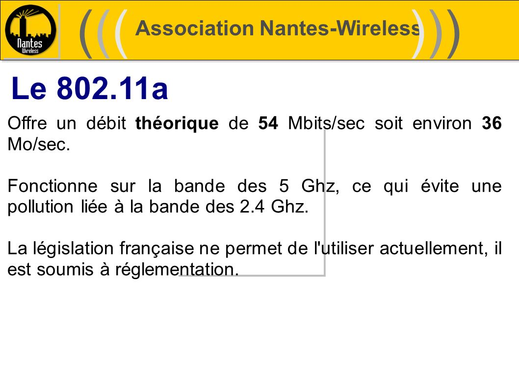 ((( ))) Le 802.11a Association Nantes-Wireless