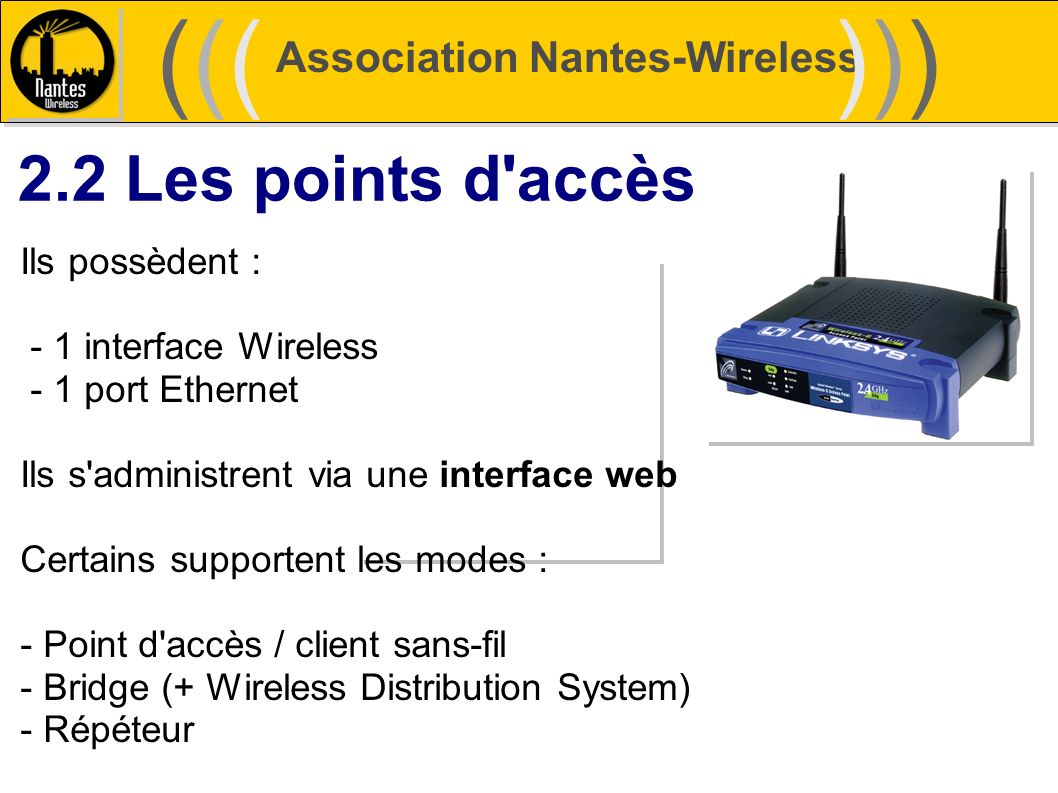 ((( ))) 2.2 Les points d accès Association Nantes-Wireless