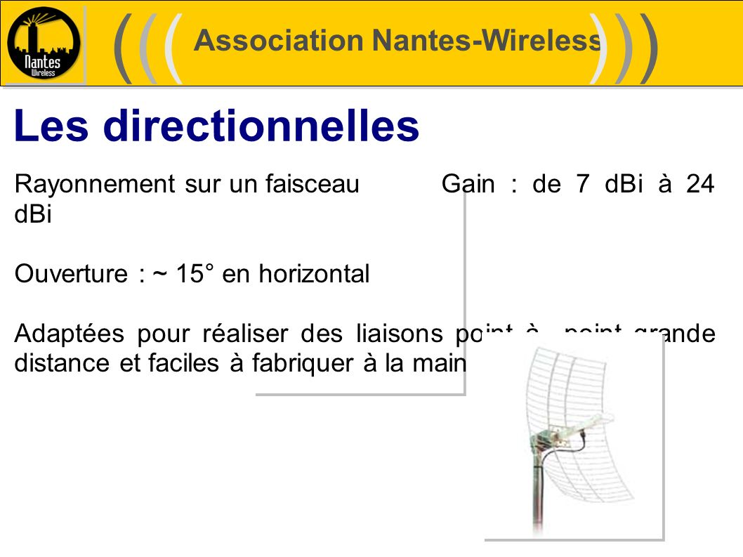 ((( ))) Les directionnelles Association Nantes-Wireless