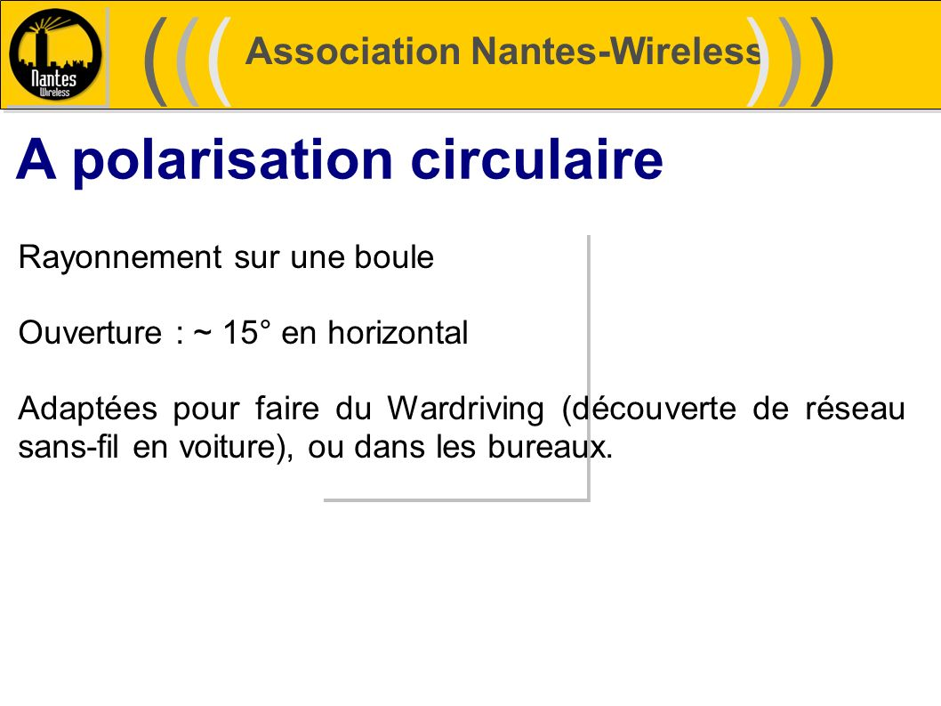 ((( ))) A polarisation circulaire Association Nantes-Wireless