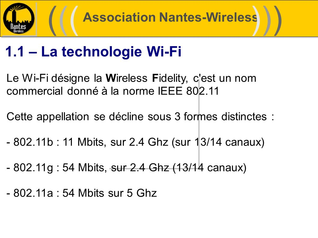 ((( ))) 1.1 – La technologie Wi-Fi Association Nantes-Wireless