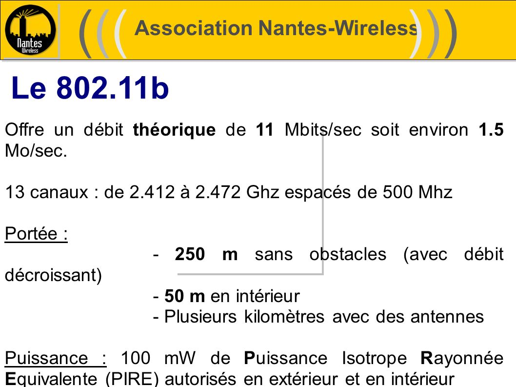 ((( ))) Le 802.11b Association Nantes-Wireless