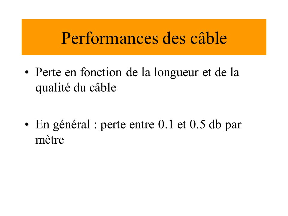 Performances des câble