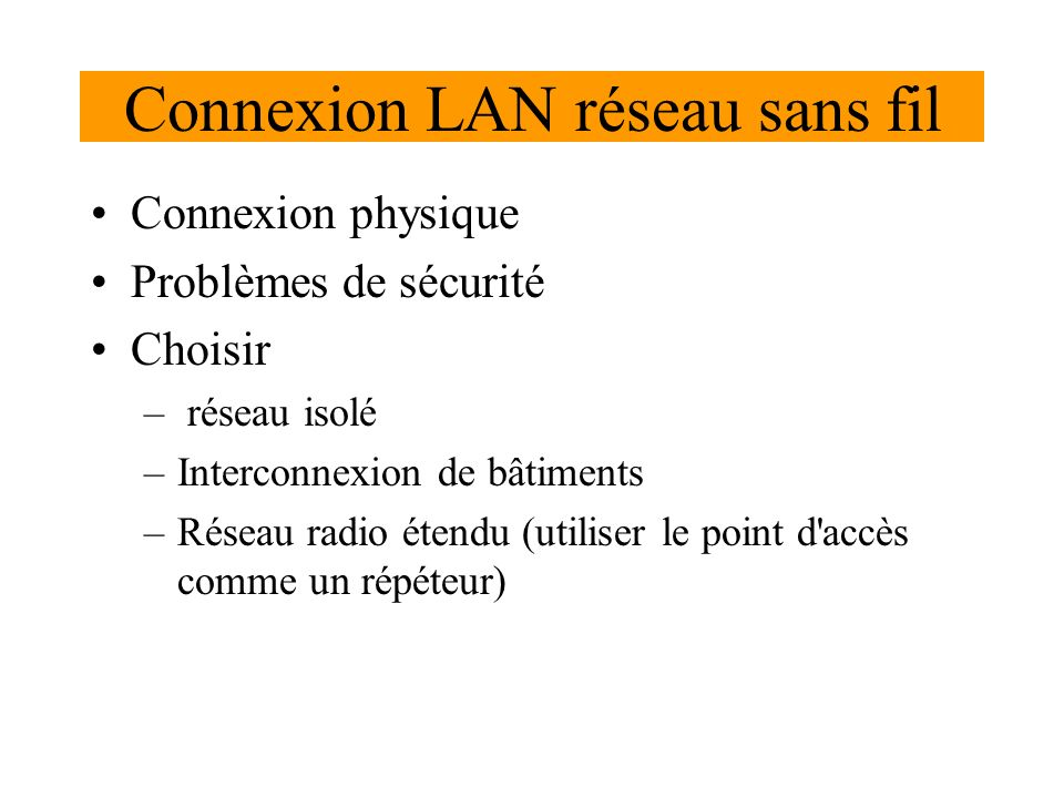 Connexion LAN réseau sans fil