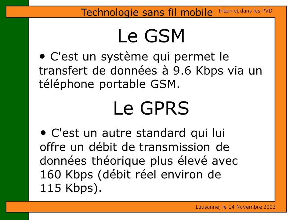 Technologie sans fil mobile