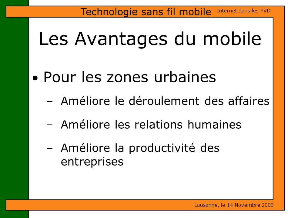 Les Avantages du mobile