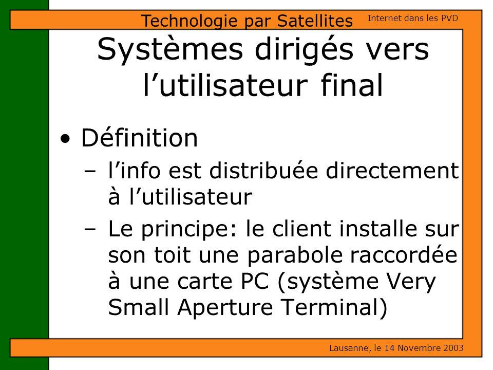Systèmes dirigés vers l'utilisateur final