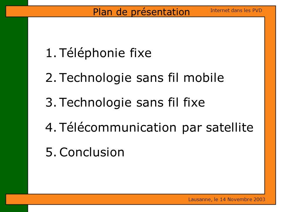 Technologie sans fil mobile Technologie sans fil fixe
