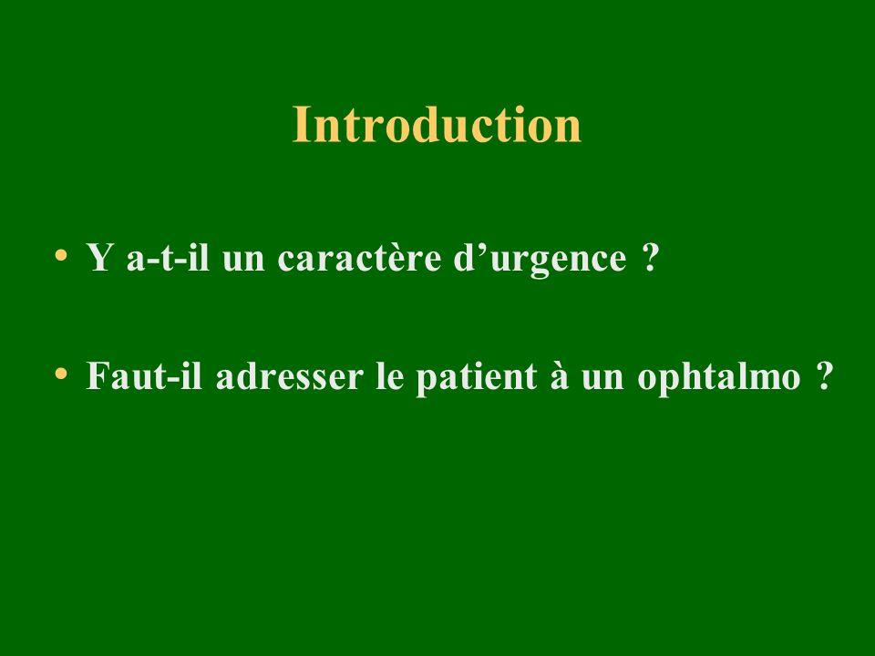Introduction Y a-t-il un caractère d'urgence