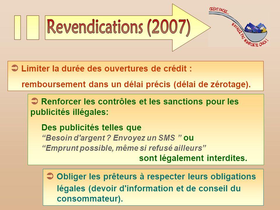 Revendications (2007)  Limiter la durée des ouvertures de crédit :