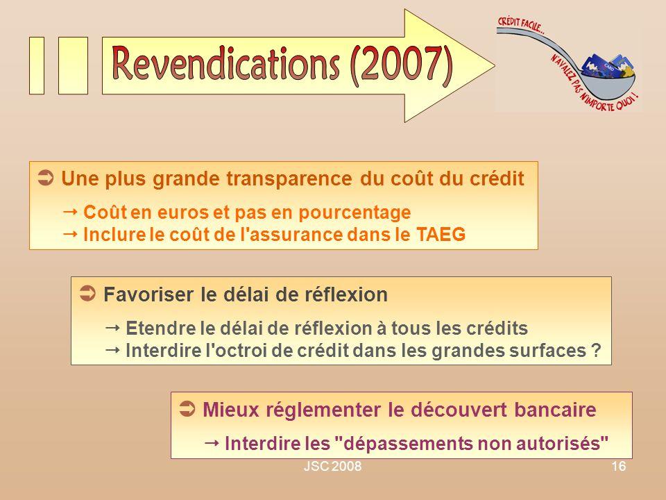 Revendications (2007)  Une plus grande transparence du coût du crédit