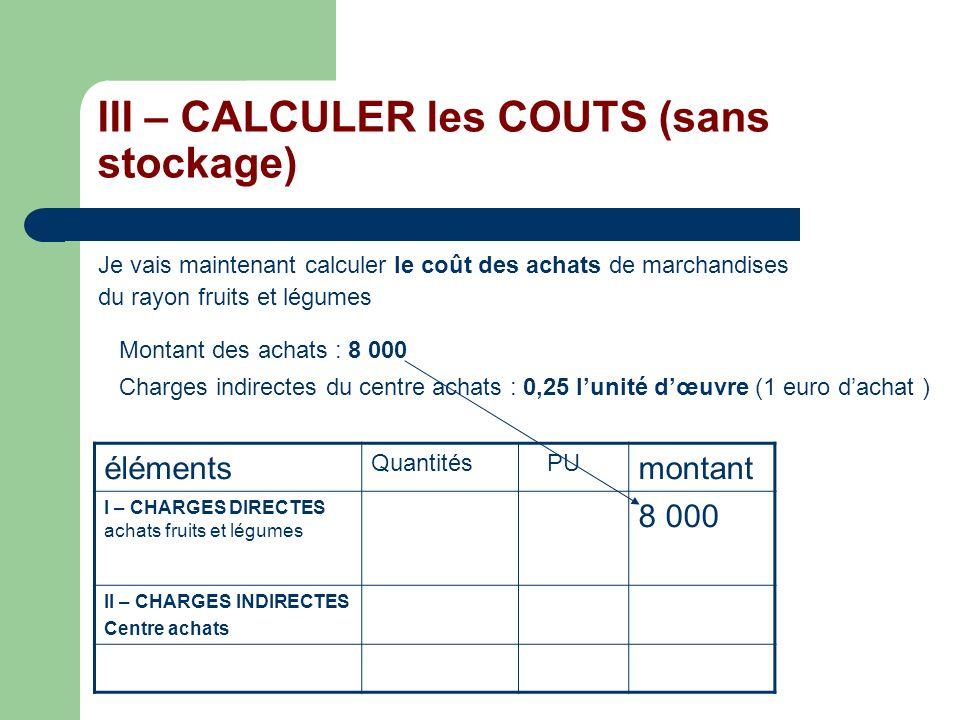 III – CALCULER les COUTS (sans stockage)