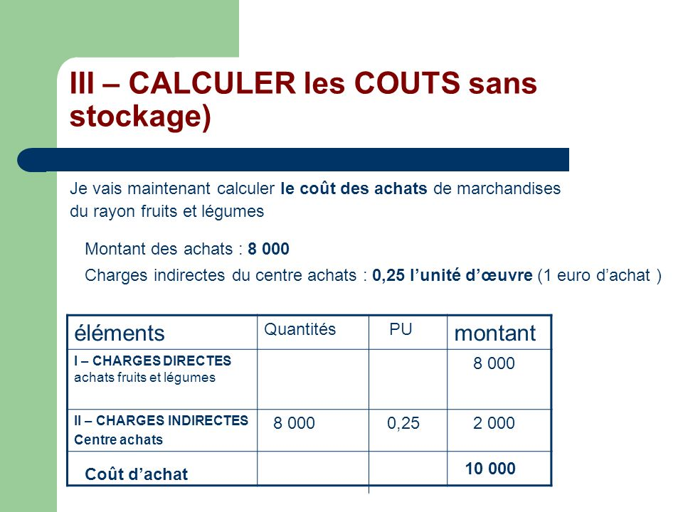 III – CALCULER les COUTS sans stockage)