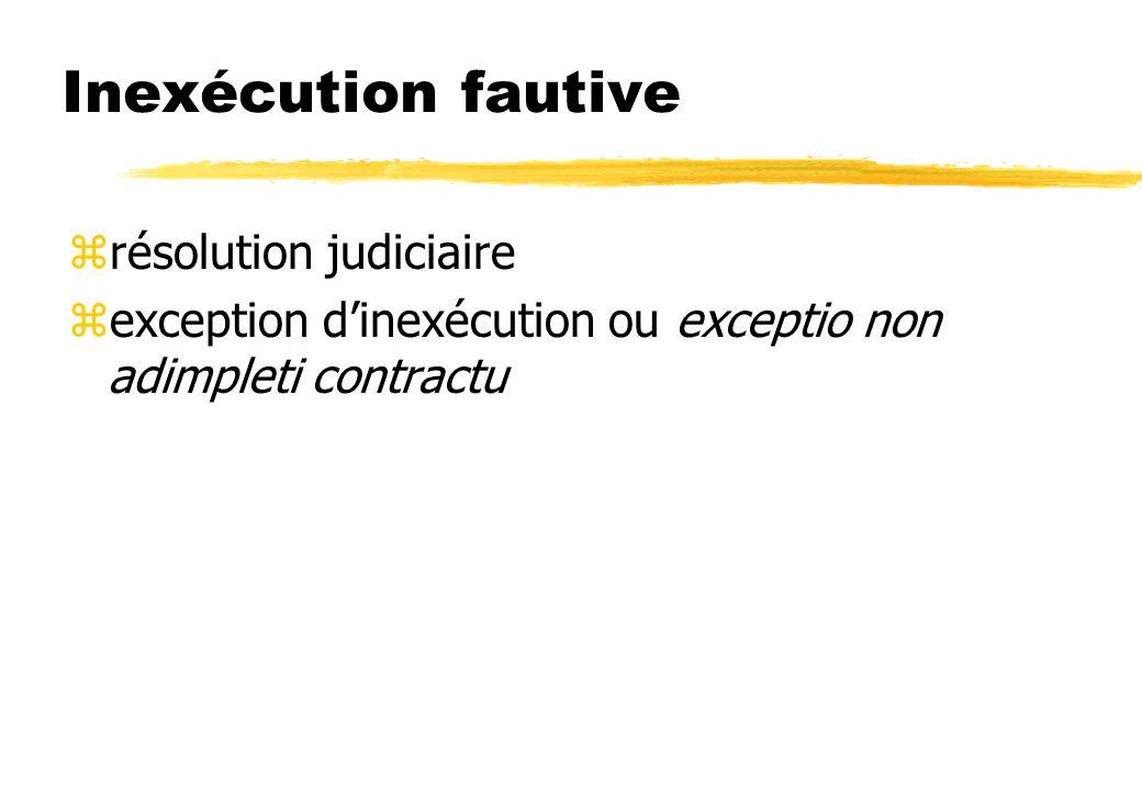 Inexécution fautive résolution judiciaire